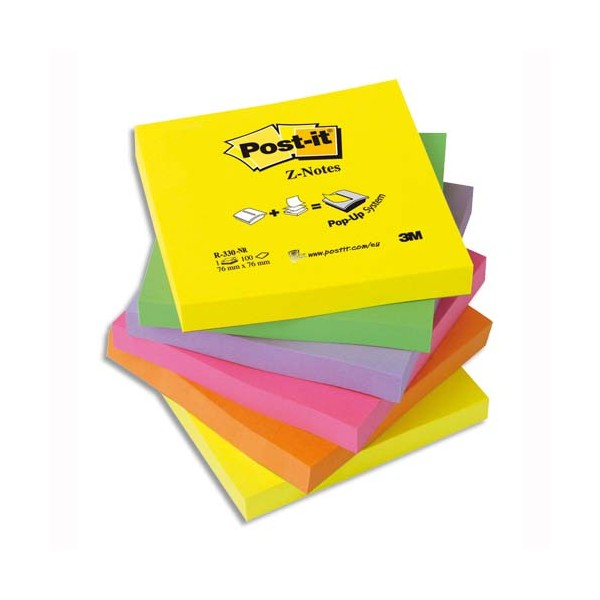POST-IT Lot de 6 Recharges Z-notes 100 feuilles 7,6 x 7,6 cm coloris néon assortis