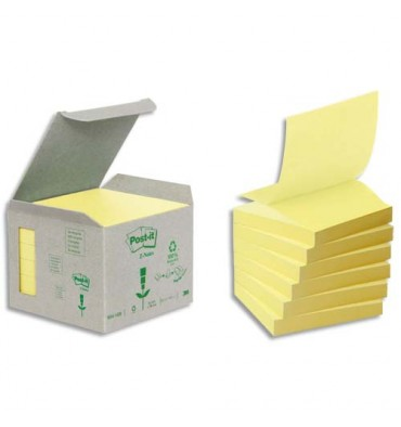 POST-IT Tour 6 blocs Z-notes 100 feuilles 7,6 x 7,6 cm 100% recyclé. Coloris jaune