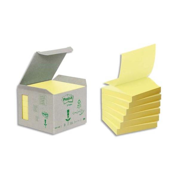 POST-IT Tour 6 blocs Z-notes 100 feuilles 7,6 x 7,6 cm 100% recyclé. Coloris jaune