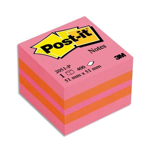 POST-IT Mini bloc cube PLAISIR Classique 5,1 x 5,1 cm 400 feuilles