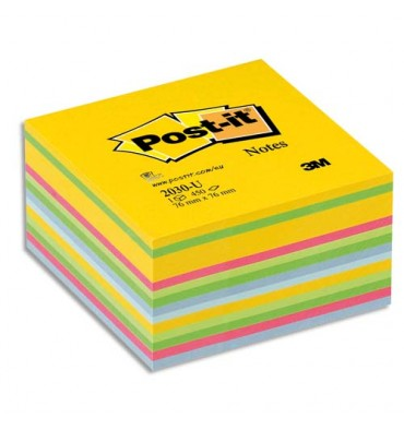 POST-IT Bloc cube déco 7,6 x 7,6 cm 450 feuilles coloris assortis Energie