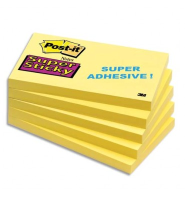 POST-IT Bloc repositionnable SUPER STICKY 90 feuilles 76 x 127 mm jaune jonquille