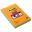 POST-IT Lot 3 blocs de 45 feuilles Sticky ligné 10,2 x 15,2 cm. Coloris néon