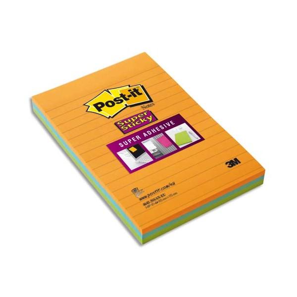 POST-IT Lot 3 blocs de 45 feuilles Sticky ligné 10,2 x 15,2 cm. Coloris néon