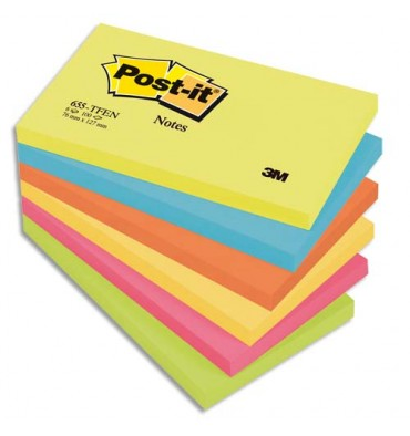 POST-IT Lot de 6 blocs repositionnables coloris Energie - 7,6 x 12,7 cm