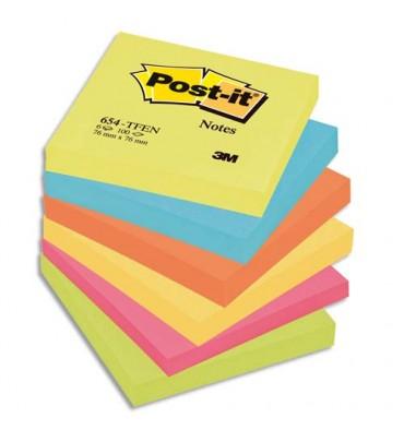 POST-IT Lot de 6 blocs repositionnables coloris énergique - 7,6 x 7,6 cm