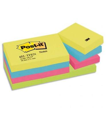 POST-IT Lot de 12 blocs repositionnables coloris énergique - 3,8 x 5,1 cm