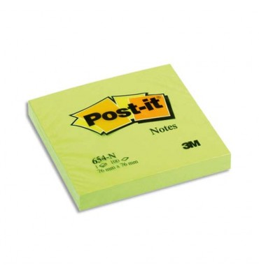 POST-IT Bloc néon repositionnable de 100 feuilles 76 x 76 mm vert néon