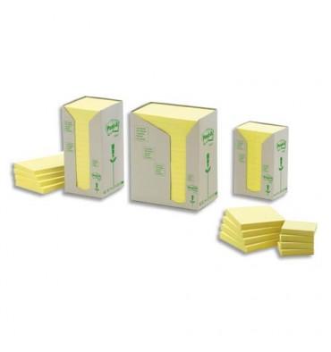 POST-IT Tour 24 blocs 100 feuilles 38x51 mm 100% recyclé. Coloris jaune