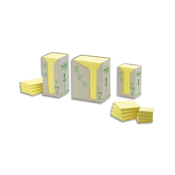 POST-IT Tour 16 blocs 100 feuilles 7,6 x 12,7 cm 100% recyclé. Coloris jaune