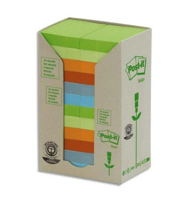POST-IT Tour 24 blocs 100 feuilles 3,8 x 5,1 cm 100% recyclé. Coloris assortis
