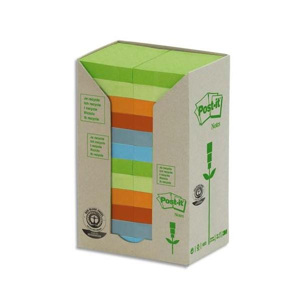 POST-IT Tour 24 blocs 100 feuilles 3,8 x 5,1 cm 100% recyclé. Coloris assortis