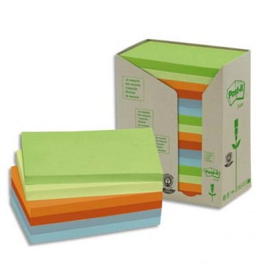 POST-IT Tour 16 blocs 100 feuilles 76x127mm 100% recyclé. Coloris assortis