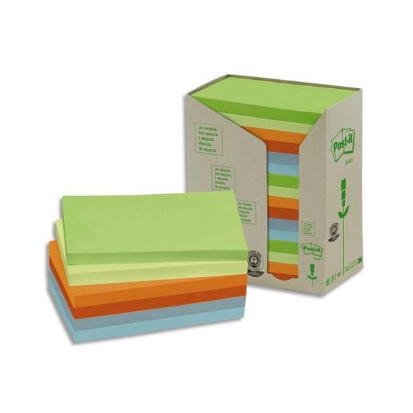 POST-IT Tour 16 blocs 100 feuilles 7,6 x 12,7 cm 100% recyclé. Coloris assortis