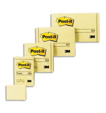 POST-IT Lot de 12 blocs repositionnables de 100 feuilles 3,8 x 5,1 cm jaune