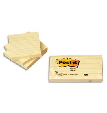 POST-IT Lot de 6 bloc repositionnable de 100 feuilles 76x76 mm jaune quadrillé