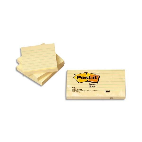 POST-IT Lot de 6 blocs repositionnable de 100 feuilles 7,6 x 7,6 cm jaune quadrillé