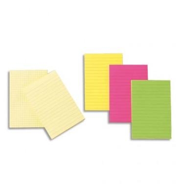 POST-IT Bloc repositionnable de 100 feuilles 102 x 152 mm jaune quadrillé