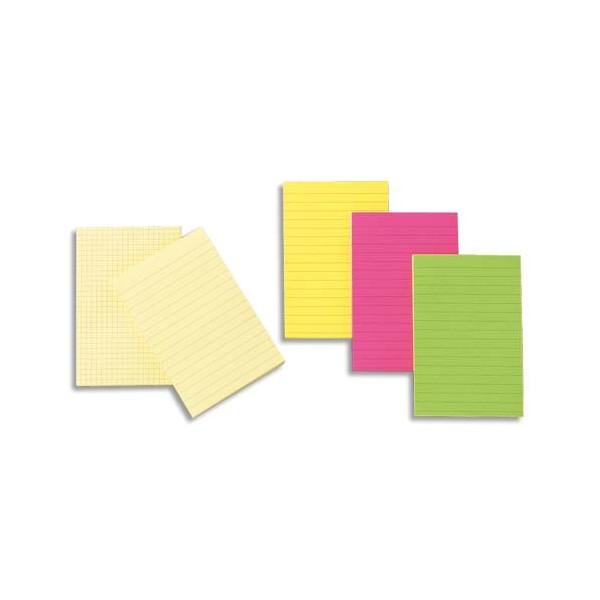 POST-IT Bloc repositionnable de 100 feuilles 10,2 x 15,2 cm jaune quadrillé
