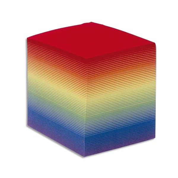 QUO VADIS Bloc cube arc en ciel 9 x 9 x 9 cm 700 feuilles encollées 80g PEFC
