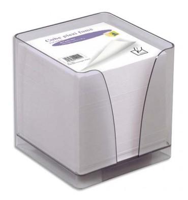 QUO VADIS Boîtier plexi fumé + recharge bloc blanc 580 feuilles 90g 9x9x9 cm