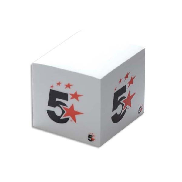 5 ETOILES Bloc cube 9x9x8 cm de 600 feuilles papier blanc (photo)