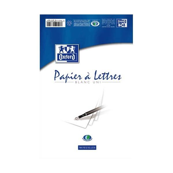OXFORD Bloc papier à lettres 50 feuilles vélin 80g 21 x 29,7 cm uni