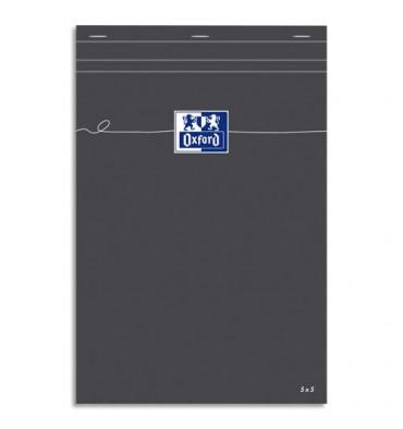 OXFORD Bloc de direction GRIS non perforé, réglure 5x5 210x297 mm papier blanc