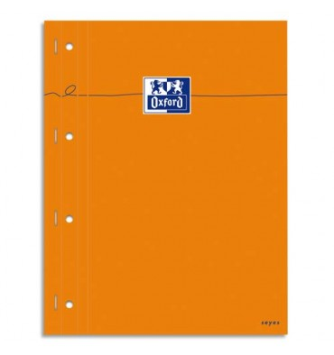 OXFORD Bloc agrafé cotés perforés, 230 x 297 mm papier blanc seyès, couverture orange
