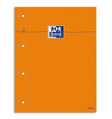 OXFORD Bloc agrafé cotés perforés, 230 x 297 mm papier blanc seyes orange