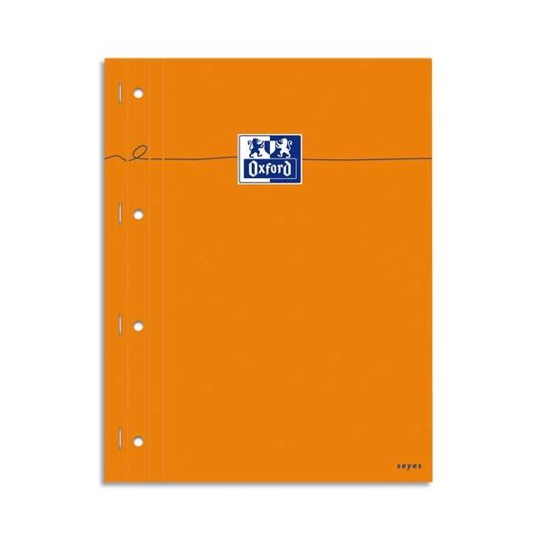 OXFORD Bloc agrafé cotés perforés, 230 x 297 mm papier blanc seyès, couverture orange