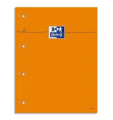 OXFORD Bloc agrafé cotés perforés, réglure pleine page 230 x 297 mm papier blanc 5x5