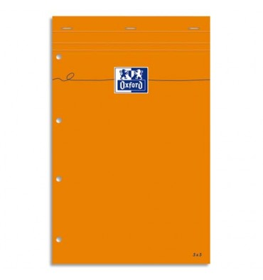 OXFORD Bloc de direction perforé 160 pages 80g lignées 21 x 32 cm couverture orange
