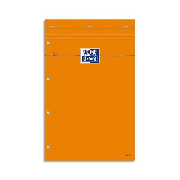 OXFORD Bloc de direction perforé 160 pages 80g lignées 21 x 32 cm couverture orange