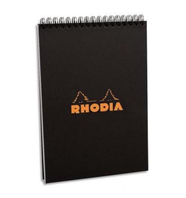 RHODIA Bloc reliure intégrale en-tête couverture noire n°16 format 14,8 x 21 cm réglure 5x5