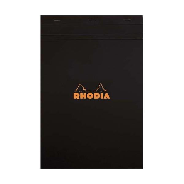 RHODIA Bloc agrafé en-tête couverture noire n°19 format 21 x 31,8 cm réglure 5x5