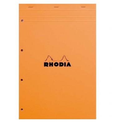 RHODIA Bloc de direction couverture orange 80 feuilles détachables perforées format A4+ réglure Seyès