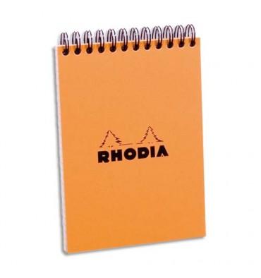 RHODIA Bloc de direction couverture reliure intégrale en-tête orange 80 feuilles format A6 réglure 5x5