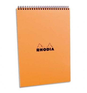 RHODIA Bloc de direction couverture reliure intégrale en-tête orange 80 feuilles format A4 réglure 5x5