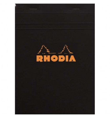 RHODIA Bloc de direction couverture noire 80 feuilles (160 pages) format A5 réglure 5x5