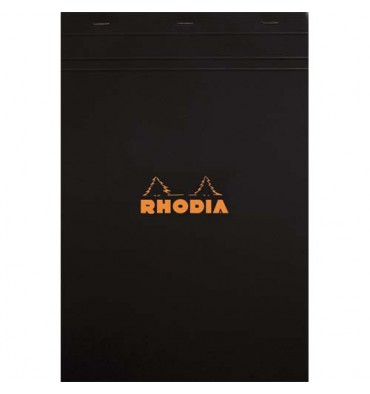 RHODIA Bloc de direction couverture noire 80 feuilles(160 pages) format A4 réglure 5x5