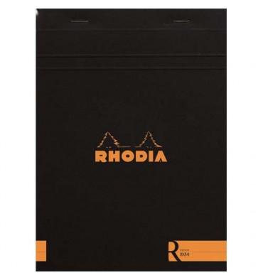 RHODIA Bloc coloR agrafé en-tête 14,8 x 21 cm 140 pages lignées. Couverture rembordée noire