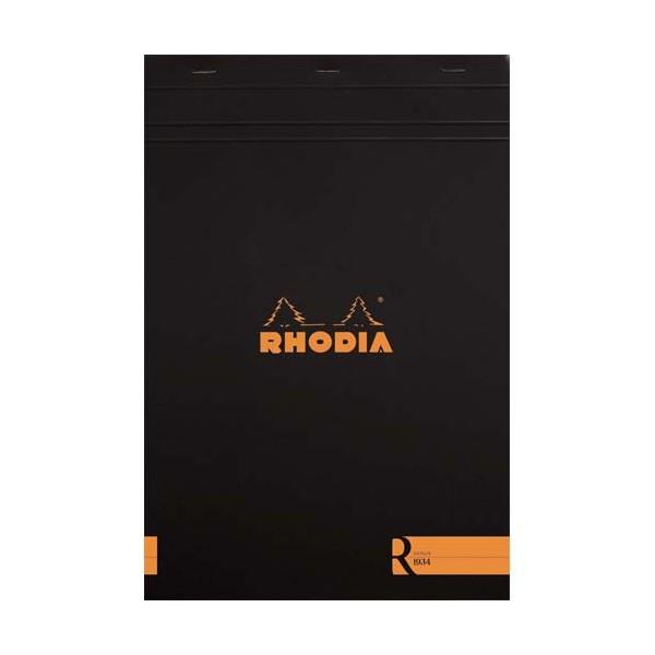 RHODIA Bloc coloR agrafé en-tête 21 x 29,7 cm 140 pages lignées. Couverture rembordée noire