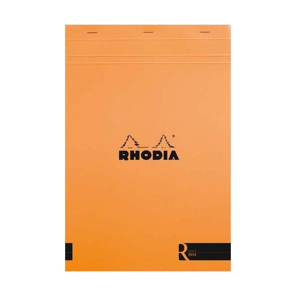 RHODIA Bloc coloR agrafé en-tête 21 x 31,8 cm 140 pages lignées. Couverture rembordée orange