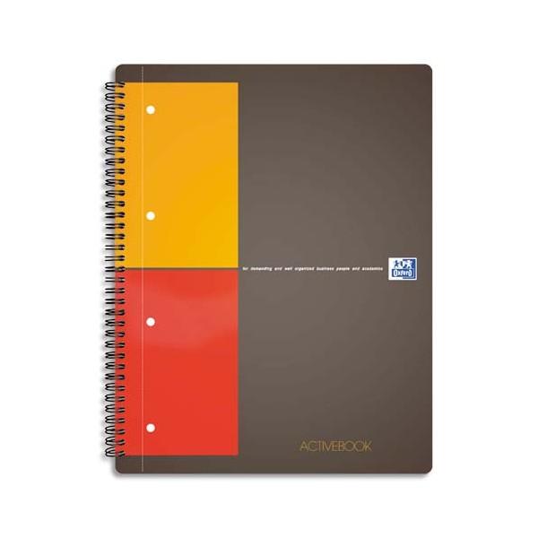 OXFORD Cahier ACTIVEBOOK en polypropylène gris spirale 160 pages perforées 80g 5x5 17 x 21 cm