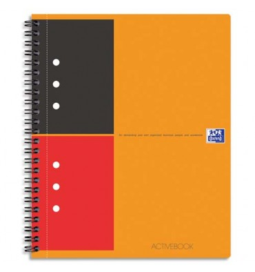 OXFORD Cahier ACTIVEBOOK en polypropylène orange spirale 160 pages perforées 80g lignée 6 mm 17 x 21 cm
