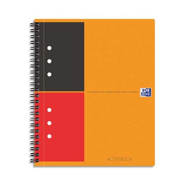 OXFORD Cahier ACTIVEBOOK en polypropylène orange spirale 160 pages perforées 80g lignée 6 mm 17 x 21 cm