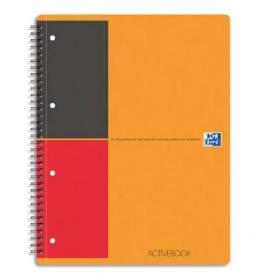 OXFORD Cahier ACTIVEBOOK couverture polypropylène orange spirales 160 pages perforées 80g lignée 6 mm 21 x 31,8 cm