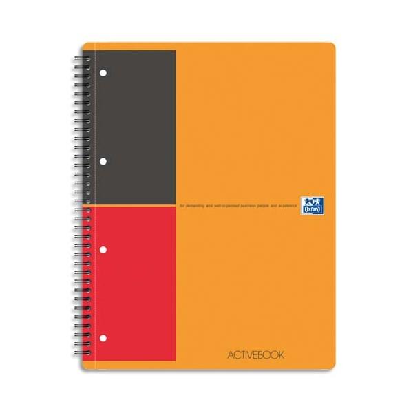 OXFORD Cahier ACTIVEBOOK en polypropylène orange spirales 160 pages perforées 80g lignée 6 mm 21 x 31,8 cm