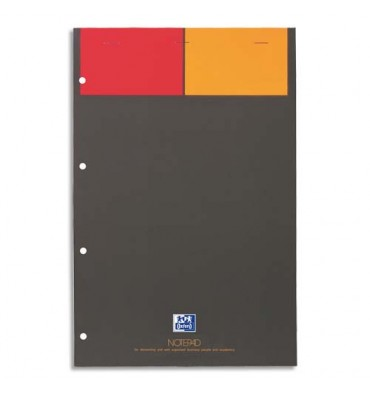 OXFORD Bloc de bureau NOTEPAD agrafé 160 pages perforées 80g 5x5 21 x 31,8 cm couverture polypropylène grise